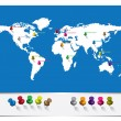 World Map With Pins — Stock Vector