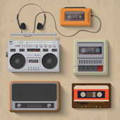 Retro music player icons — Stock Vector