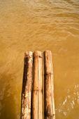 Bamboo bridge in river — Stock Photo