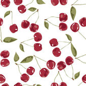 Seamless cherry texture pattern of leaves, stalks and berries on a white background — Stock Vector