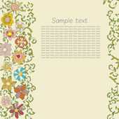 Postcard for text with a vegetative ornament of flowers, scrolls and leaves — Stock Vector