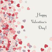 Sevgililer günü kalpleri ile tebrik kartı. — Stok Vektör