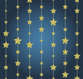 Background with garlands of stars on a blue background — Stock Vector