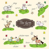 Farm animals can be used as a vignette for text — Stock Vector