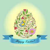 An egg with a blue ribbon Ornament with birds, flowers, buds, branches Congratulations with Easter Can be used as a postcard Congratulations with Easter — Stock Vector