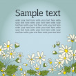 Card with the image of daisies camomile. Vignette for the text. Blue background. — Stock Vector #39069557