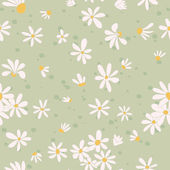 Seamless texture with pictures of flowers. Chamomile. — Stock Vector