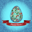 An egg with a red ribbon. Ornament with berries, flowers, buds, branches. Congratulations with Easter. — Stock Vector