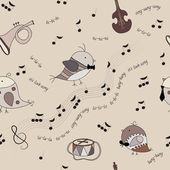 Seamless texture with birds, musical instruments, notes, song — Stock Vector