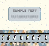 Postcard for text with penguins and a triangular design. — Stock Vector