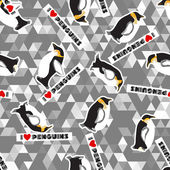 Seamless texture with penguins and a triangular design. Gray background — 图库矢量图片