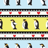 Seamless texture with penguins, triangular design, hearts — Stock Vector