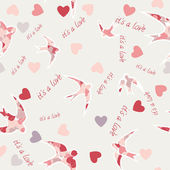 Seamless texture with swallows and hearts. Valentine's day. — Stock Vector
