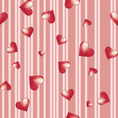 Hearts on a striped background For Valentine s Day — Stock Vector
