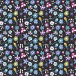 Seamless pattern of abstract flowers on a dark background — Vettoriale Stock