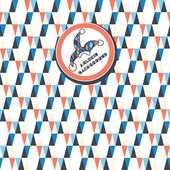 A seamless pattern of white, dark blue, red triangles on a white background. Shortcut with the clown hat — Stok Vektör