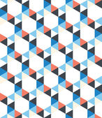 Seamless pattern of white, dark blue, red triangles on a white background — Stockvektor