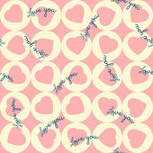 Seamless pattern of pink hearts in the yellow circles. For Valentine's day. Love you — Stock Vector