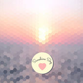 Abstract background of the hexagons. spring pastel colors. shortcut with a heart — Stok Vektör