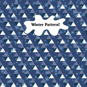 Seamless pattern of triangles and snowflakes on a blue background. winter background. — Stock Vector