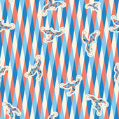 Seamless pattern of white, dark blue, red triangles on a white background. with the clown hats — Stockvektor