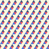 Seamless pattern of blue, red triangles on a light background — Stock Vector