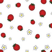 Seamless background with strawberry and flower — Stock Vector