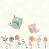 Ptak i kwiat — Wektor stockowy