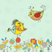 Background with flower and bird — Stock vektor