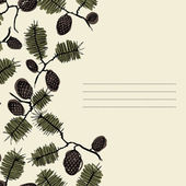 Frame for text with fir cone and twig — Stockvector