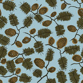 Pattern with fir cone and twig — Vector de stock