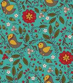 Ptaków, roślin i kwiatów — Wektor stockowy