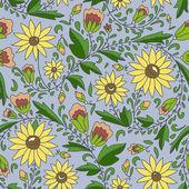 Flower, sunflower, leaves, buds. — Stock Vector