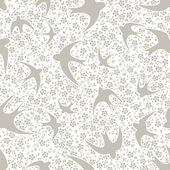Pattern with swallow and flower — Stockvector
