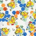Colored hexagon, musical note and bird. — Stock Vector #40548943