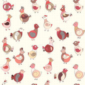 Abstract turkey bird, chicken and pigeon — Stock Vector
