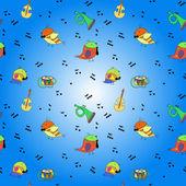 Bird, musical instrument, note — Stock Vector