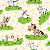Farm animals on grass — 图库矢量图片