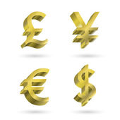 Currency gold symbols — Wektor stockowy