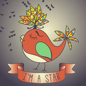 Illustration sing bird. ribbon and slogan. — Vector de stock