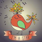 Ilustração cantar de pássaros. fita e slogan. — Vetorial Stock
