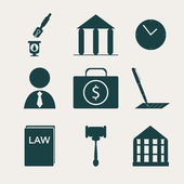 Law and justice icon set — Stock Vector