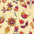 Seamless floral pattern with birds — Stock Vector #42805529