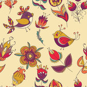 Seamless floral pattern with birds — Stock Vector