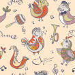 Постер, плакат: Jazz concept wallpaper Birds sing and dancing