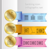 Banking icons, colored infographic ribbons — Stock Vector