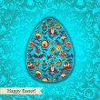 Easter egg turquoise greeting card with flowers — Stock Vector