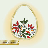 Easter egg with barberry, greeting card — Stock Vector