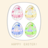 Easter egg pink crystall triangle greeting card — Stock Vector