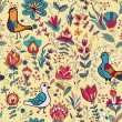 Seamless floral pattern with birds and flowers — Stock Vector